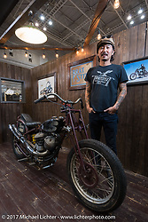 Go Takamine in his Brat Style Motorcycles display at the 26th Annual Yokohama Hot Rod and Custom Show 2017. Yokohama, Japan. Sunday December 3, 2017. Photography ©2017 Michael Lichter.