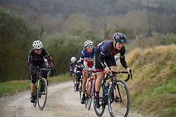 Tiffany Cromwell battles up the steep gravel road at Strade Bianche - Elite Women. A 127 km road race on March 4th 2017, starting and finishing in Siena, Italy. (Photo by Sean Robinson/Velofocus)