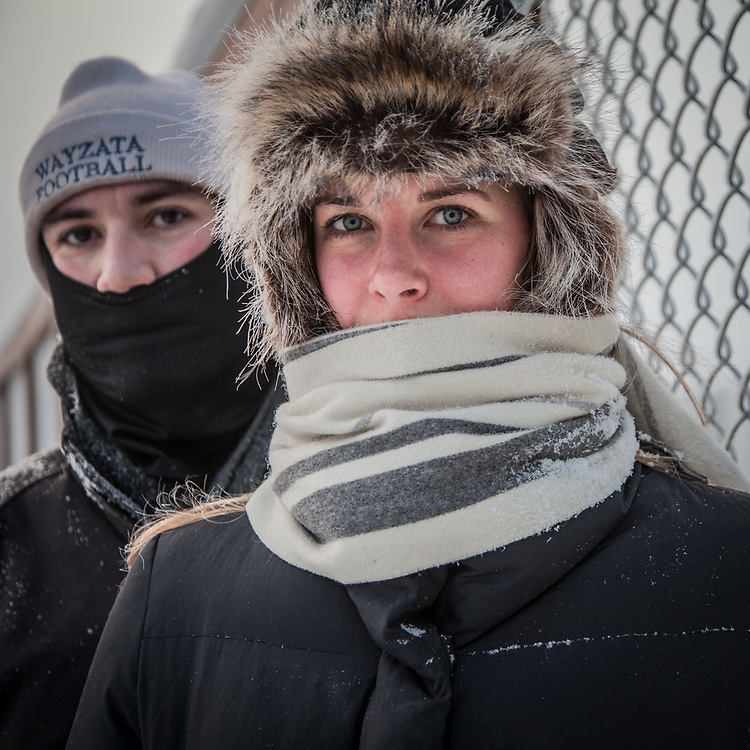 Kristin Willersdorf and Cole Luby out for a morning walk on a cold day near the Sullivan Arena in Anchorage  kwillersdorf@gmail.com
