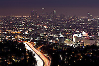 Los Angeles at Night, Scenic Vista from Mulholland Drive, California
