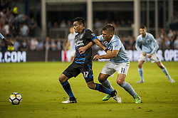 August 9, 2017 - Kansas City, Kansas, United States - Kansas City, KS - Wednesday August 9, 2017: Darwin Ceren, Diego Rubio during a Lamar Hunt U.S. Open Cup Semifinal match between Sporting Kansas City and the San Jose Earthquakes at Children's Mercy Park. (Credit Image: © Amy Kontras/ISIPhotos via ZUMA Wire)