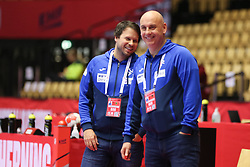 HERNING, DENMARK - DECEMBER 4: Head coach Uros Bregar (L) during the EHF Euro 2020 Group A match between Denmark and Slovenia in Jyske Bank Boxen, Herning, Denmark on December 4, 2020. Photo Credit: Allan Jensen/EVENTMEDIA.