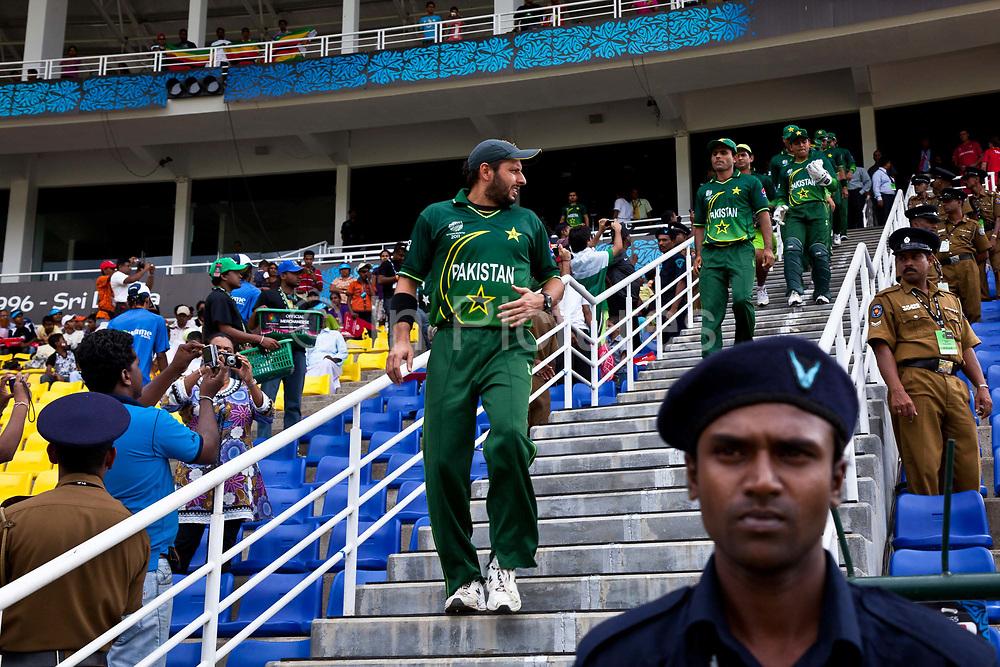 Pakistan Cricket Team lead by captain Shahid Afridi enter Pallakele Stadium, to field against Zimbabwe, Kandy, Sri Lanka