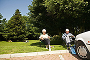 An elderly couple take a break from the road and enjoy a picnic at Cartgate services on the 6th June 2008 in Yeovil in the United Kingdom.