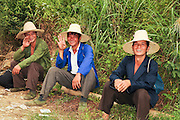 China, Guilin workers at rest in a rice field