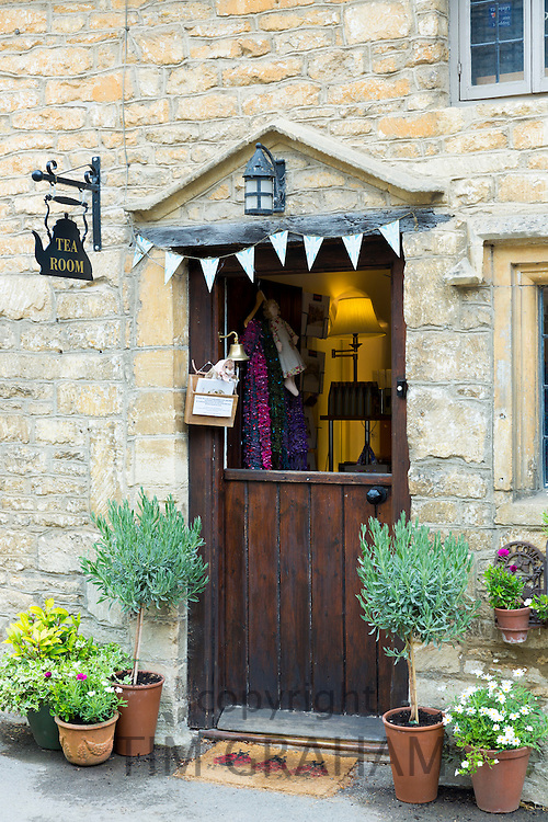 Traditional English tearoom with stable door half open in the quaint village of Castle Combe in Wiltshire, The Cotswolds, UK