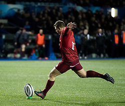 Munster's Ian Keatley kicks a penalty<br /> <br /> Photographer Simon King/Replay Images<br /> <br /> Guinness PRO14 Round 15 - Cardiff Blues v Munster - Saturday 17th February 2018 - Cardiff Arms Park - Cardiff<br /> <br /> World Copyright © Replay Images . All rights reserved. info@replayimages.co.uk - http://replayimages.co.uk