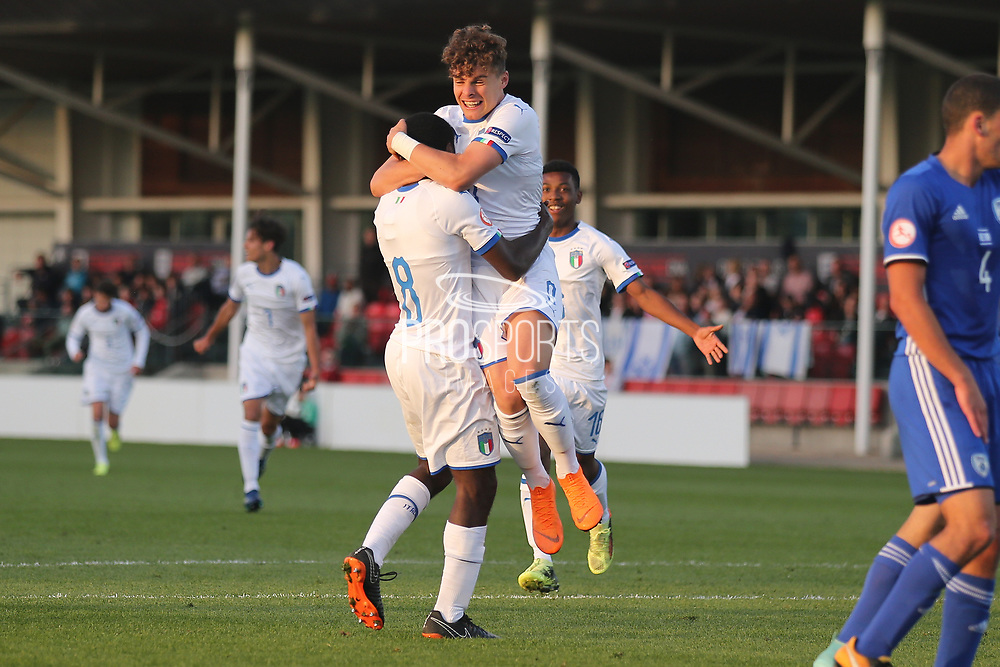 Edoardo Vergani of Italy (9) congratulates Manu Emmanuel Gyabuaa of Italy (8) after scoring during the UEFA European Under 17 Championship 2018 match between Israel and Italy at St George's Park National Football Centre, Burton-Upon-Trent, United Kingdom on 10 May 2018. Picture by Mick Haynes.