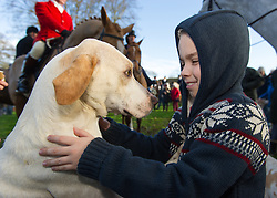A young supporter of The Cottesmore Hunt for their traditional Boxing Day Meet at Cutts Close in Oakham, Rutland, UK, 26th December 2012. Photo by Nico Morgan / i-Images.