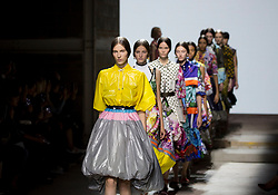 Models on the catwalk during the Mary Katrantzou London Fashion Week SS18 show held at Topshop Showspace, London