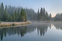 Morning fog at Schwabacher Landing, Grand Teton National Park Wyoming