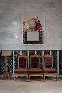 A vandalised picture of St. George hangs on a wall at St. George Church in Qaraqosh, Iraq. ISIS occupied the predominately Christian town from 2014 to 2016 and caused considerable damage. (May 5, 2017)