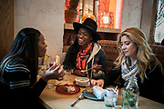MANHATTAN, NEW YORK. November 6th. Sunday Routine with Latham Thomas, doula and founder of Mama Glow. Andrea, Latham and Rachel having brunch at JAJAJA Mexican restaurant in Lower East Side (photo Edu Bayer)