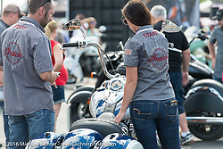 The Indian Motorcycle display downtown Sturgis on the final Saturday of the annual Black Hills Motorcycle Rally.  SD, USA.  August 13, 2016.  Photography ©2016 Michael Lichter.