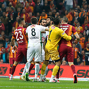 Galatasaray's Burak Yilmaz (R) and TorkuKonyaspor's Ali Turan (B) during their Turkish Super League soccer match Galatasaray between TorkuKonyaspor at the AliSamiYen Spor Kompleksi TT Arena at Seyrantepe in Istanbul Turkey on Friday, 08 May 2015. Photo by Kurtulus YILMAZ/TURKPIX