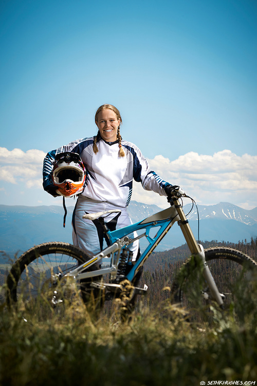Neven Steinmetz, pro downhill mountain biker. Winter Park, Colorado.