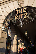 The ironwork and lettering of the Ritz appears as shadows along the pillars of its arcade on Piccadilly, on 21st January 2020, in London, England.