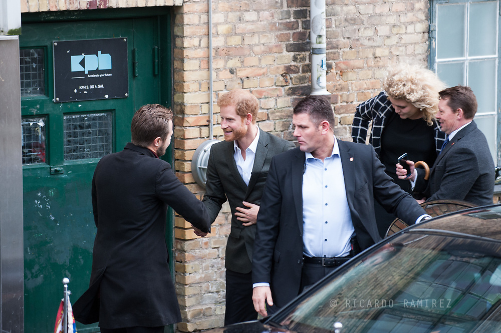 25.10.12017. Copenhagen, Denmark.  <br /> Prince Harry's arrival at KPH Innovation House, which helps small businesses and start ups as part of his official visit to Copenhagen.<br /> Photo: © Ricardo Ramirez