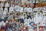 Taj Mahal souvenirs on sale by The Great Gate, Darwaza-i rauza, of The Taj Mahal Complex, southern entrance, Agra, India