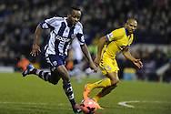 West Brom's Saido Berahino goes past Danny Gabbidon of Crystal Palace. FA Cup with Budweiser, 3rd round, West Bromwich Albion v Crystal Palace match at the Hawthorns in Birmingham, England on Saturday 4th Jan 2014.<br /> pic by Andrew Orchard, Andrew Orchard sports photography.