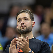 2019 US Open Tennis Tournament- Day Nine.  Alexis Ohanian, husband of Serena Williams of the United States applauds her after her victory against Qiang Wang of China in the Women's Singles Quarter-Finals match on Arthur Ashe Stadium during the 2019 US Open Tennis Tournament at the USTA Billie Jean King National Tennis Center on September 3rd, 2019 in Flushing, Queens, New York City.  (Photo by Tim Clayton/Corbis via Getty Images)