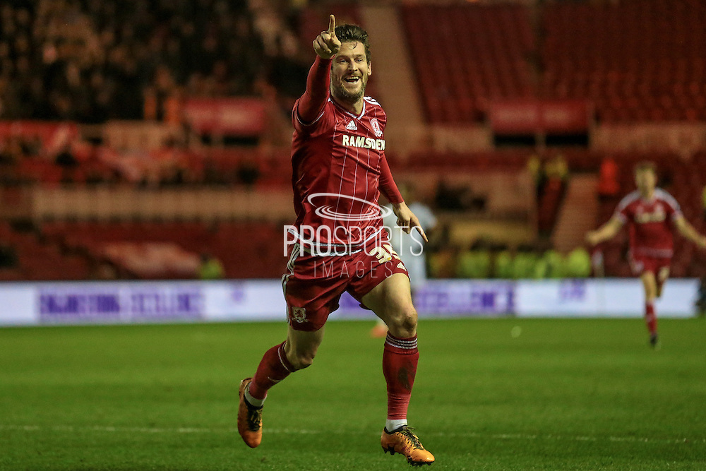 David Nugent (Middlesbrough) runs to celebrate with the fans during the Sky Bet Championship match between Middlesbrough and Hull City at the Riverside Stadium, Middlesbrough, England on 18 March 2016. Photo by Mark P Doherty.