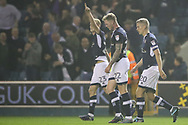 George Saville celebrates his second goal during the EFL Sky Bet Championship match between Millwall and Reading at The Den, London, England on 26 September 2017. Photo by Toyin Oshodi.