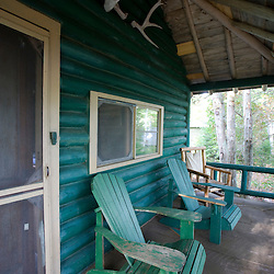A porch at a cabin at the Katahdin Lake Wilderness Camps in Maine's Baxter State Park.