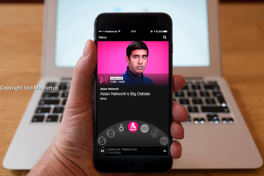 Using iPhone smartphone to display show on BBC Radio Asian Network radio station