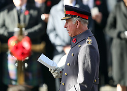 The Prince of Wales during the remembrance service at the Cenotaph memorial in Whitehall, central London, on the 100th anniversary of the signing of the Armistice which marked the end of the First World War.