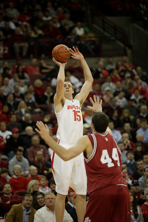 13 January 2009: Ohio State center Kyle Madsen (15) as the Indiana Hoosiers played the Ohio State Buckeyes in a college basketball game in Columbus, OH.