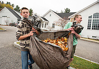 GHS Freshmen Brady and Gunner haul leaves from the Gilford Community Center playground during Gilford/Gilmanton Community Service Day on Tuesday morning.   (Karen Bobotas/for the Laconia Daily Sun)