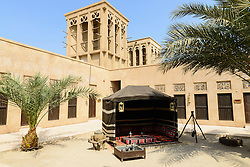 Interior courtyard of the Camel Museum in Al Shindagha heritage district in Dubai United Arab Emirates