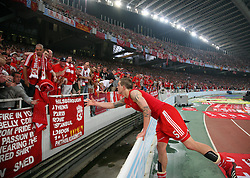 Athens, Greece - Wednesday, May 23, 2007: Liverpool's Daniel Agger throws his shirt to the crowed after losing 2-1 to AC Milan during the UEFA Champions League Final at the OACA Spyro Louis Olympic Stadium. (Pic by David Rawcliffe/Propaganda)