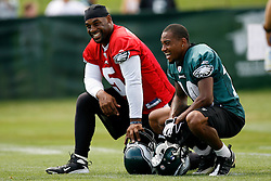 Bethlehem, PA - August 2nd 2008 - Quraterback Donovan McNabb chats with Rookie Wide Receiver Desean Jackson on the sideline during the Philadelphia Eagles Training Camp at Lehigh University (Photo by Brian Garfinkel)