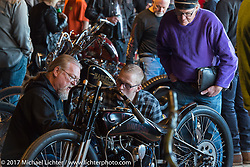 Bike builder Mike Lange explains the working of his builds at the Mama Tried Bike Show. Milwaukee, WI, USA. Saturday, February 18, 2017. Photography ©2017 Michael Lichter.