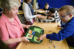 Pupil with physical disabilities in nature lesson in a special school,