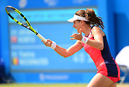 Johanna Konta (GBR) in action during her match against Yanina Wickmayer (BEL). The Aegon Open Nottingham 2017, international tennis tournament at the Nottingham tennis centre in Nottingham, Notts , day 4 on Thursday 15th June 2017.<br /> pic by Bradley Collyer, Andrew Orchard sports photography.