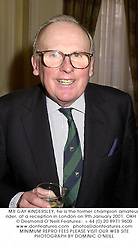 MR GAY KINDERSLEY, he is the former champion amateur rider, at a reception in London on 9th January 2001.	OKH 12