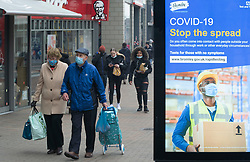 © Licensed to London News Pictures 03/03/2021.   Bromley, UK. People out and about in Bromley High Street in South East London today during a third national coronavirus lockdown. Non-essential shops could open in weeks if the Covid-19 infection rate keeps dropping. Photo credit:Grant Falvey/LNP