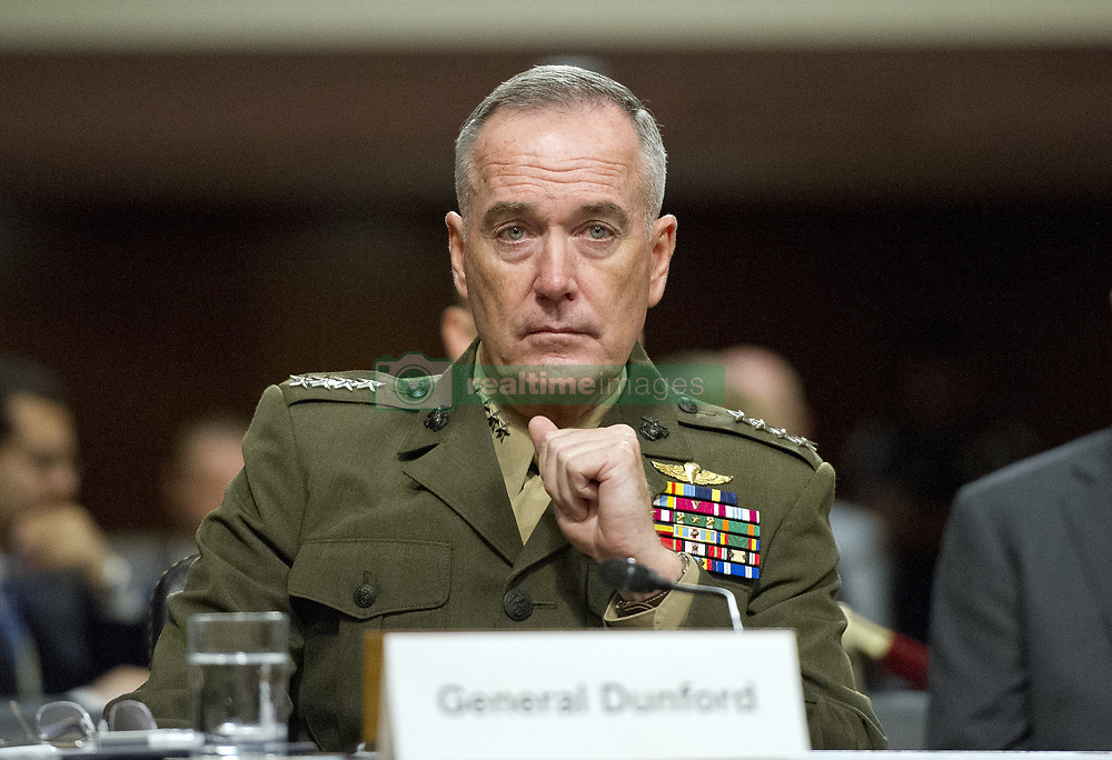June 13, 2017 - Washington, District of Columbia, United States of America - General Joseph F. Dunford, Jr., US Marine Corps, Chairman of the Joint Chiefs of Staff, gives testimony before the US Senate Committee on Armed Services on ''the Department of Defense budget posture in review of the Defense Authorization Request for Fiscal Year 2018 and the Future Years Defense Program'' on Capitol Hill in Washington, DC on Tuesday, June 13, 2017..Credit: Ron Sachs / CNP (Credit Image: © Ron Sachs/CNP via ZUMA Wire)