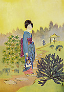 A Geisha Girl in her standing form From the book ' The story of the geisha girl ' by Taizo Fujimoto, Published in London by T. Werner Laurie