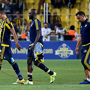Fenerbahce's (L-R) Van Persie, Sow, headcoach Vitor Pereira during their UEFA Champions league third qualifying round first leg soccer match Fenerbahce between Shakhtar Donetsk at the Sukru Saracaoglu stadium in Istanbul Turkey on Tuesday 28 July 2015. Photo by Aykut AKICI/TURKPIX