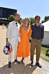 Jenson Button, Tamsin Egerton and Josh Hartnett at the 'Cartier Style et Luxe' enclosure during the Goodwood Festival of Speed, Goodwood House, West Sussex, England. 15 July 2018.