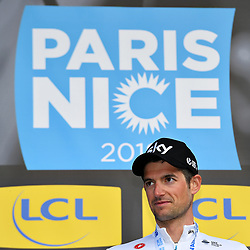 March 7, 2018 - Chatel-Guyon, FRANCE - Dutch Wout Poels of Team Sky celebrates on the podium after winning the fourth stage of the 76th edition of Paris-Nice cycling race, a 18,4 km individual time trial from La Fouillouse to Saint-Etienne, France, Wednesday 07 March 2018. The race starts on the 4th and ends on the 11th of March. BELGA PHOTO DAVID STOCKMAN (Credit Image: © David Stockman/Belga via ZUMA Press)