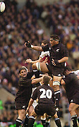 Richmond/Twickenham, England, Autumn International, and All Blacks Trianing at Old Deer Park. <br /> 09/11/2002<br /> International Rugby England vs New Zealand<br /> Line out ball -  All Black Brad Mika       [Mandatory Credit:Peter SPURRIER/Intersport Images]