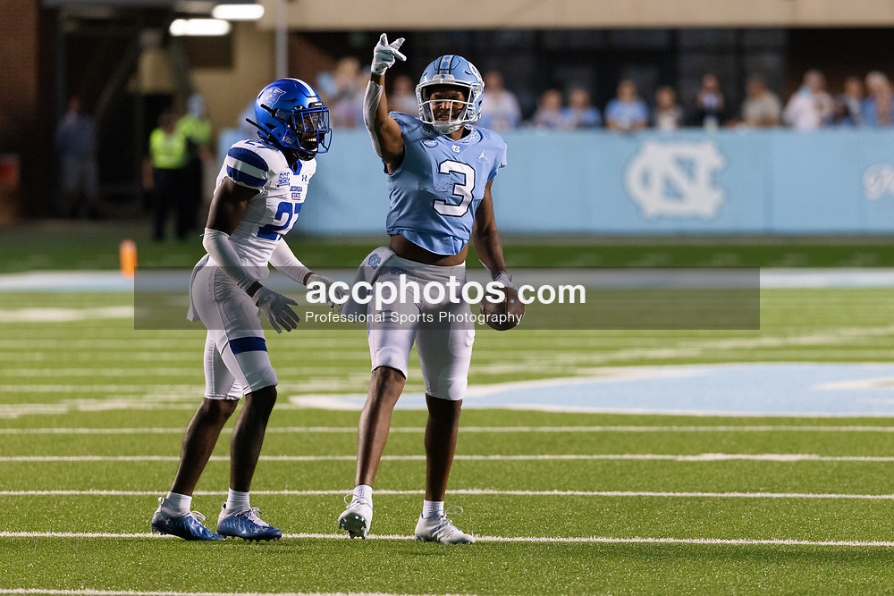 CHAPEL HILL, NC - SEPTEMBER 11: Antoine Green #3 of the North Carolina Tar Heels plays during a game against the Georgia State Panthers on September 11, 2021 at Kenan Stadium in Chapel Hill, North Carolina. North Carolina won 59-17. (Photo by Peyton Williams/Getty Images) *** Local Caption *** Antoine Green