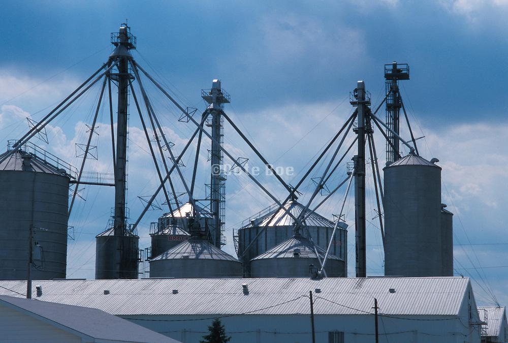 silos against cloudy sky in Illinois