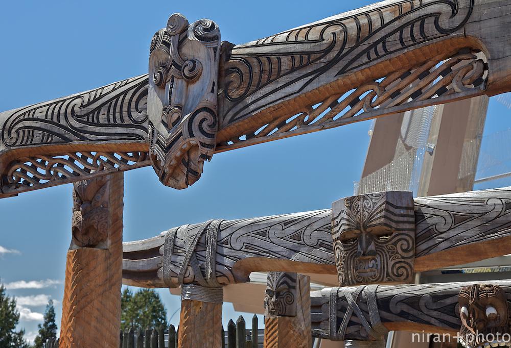 Maori Carvings at Rotorua, New Zealand