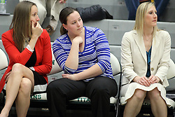 21 February 2015:  Olivia Lett, ?, Jenn Watson during an NCAA women's division 3 CCIW basketball game between the Elmhurst Bluejays and the Illinois Wesleyan Titans in Shirk Center, Bloomington IL